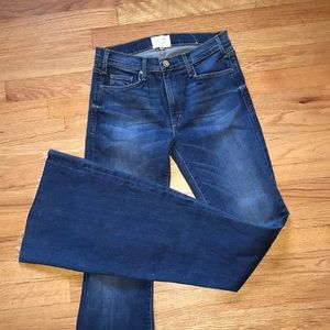 McGuire High Rise Bell Bottom Raw Hem Jeans